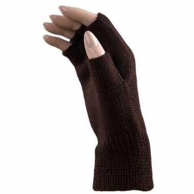 Verkleed bruine handschoenen vingerloos voor volwassenen