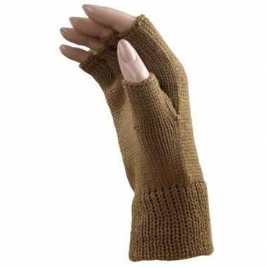 Verkleed caramel bruine handschoenen vingerloos voor volwassenen