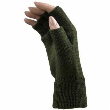 Verkleed groene handschoenen vingerloos voor volwassenen