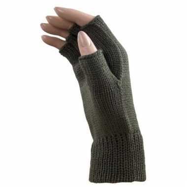 Verkleed khaki groene handschoenen vingerloos voor volwassenen