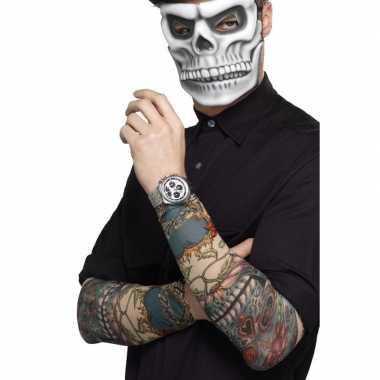 Verkleed tattoo sleeves met skulls voor volwassenen
