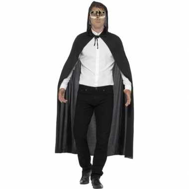 Verkleed zwarte cape met muzieknoten oogmasker voor volwassenen