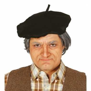 Verkleed zwarte franse baret voor volwassenen
