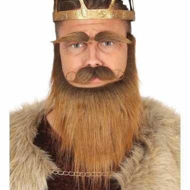 Verkleedbaardset viking bruin