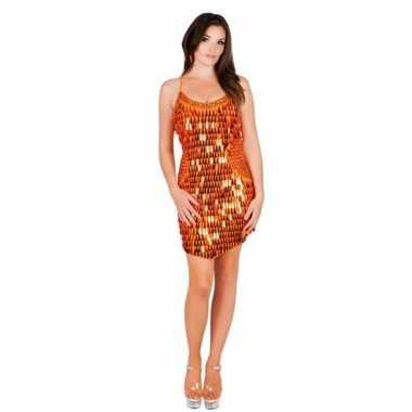 Verkleedkleding jurkje oranje pailletten