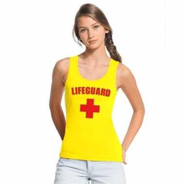 Verkleedkleding strandwacht mouwloos shirt geel dames
