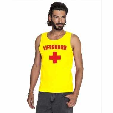 Verkleedkleding strandwacht mouwloos shirt geel heren