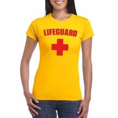 Verkleedkleding strandwacht shirt geel dames