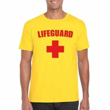 Verkleedkleding strandwacht shirt geel heren