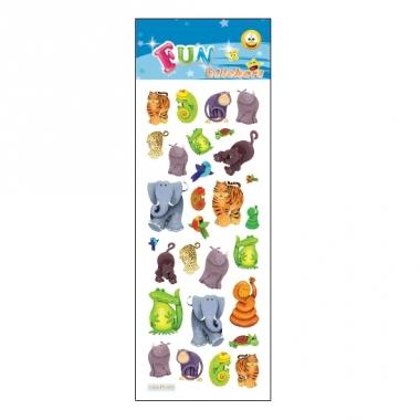 Verschillende jungle dieren stickervelletje