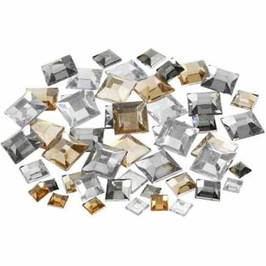 Vierkante glinster steentjes assorti zilver