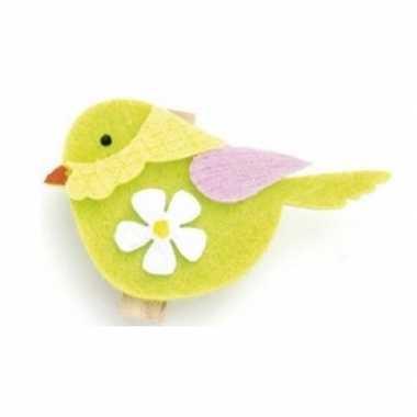 Vilt vogel met klem 6st 4,5x3,5cm groen