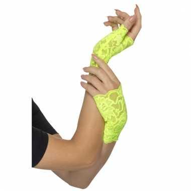 Vingerloze neon groene handschoenen van kant