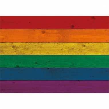 Vintage gay parade regenboog vlag lhbt op hout poster 84 cm