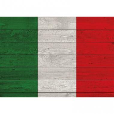 Vintage italiaanse vlag op hout poster 84 cm