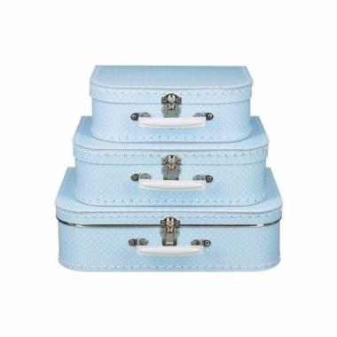 Vintage koffertje licht blauw witte stipjes 25 cm