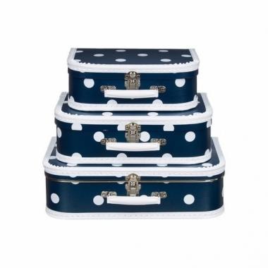 Vintage koffertje navy witte stip 25 cm