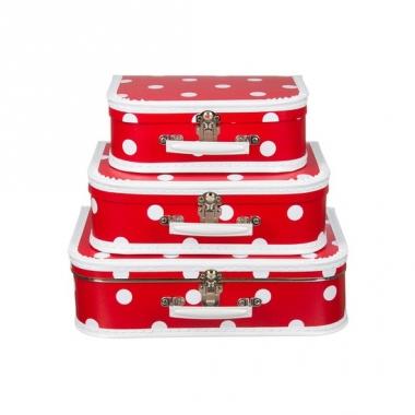 Vintage koffertje rood witte stip 30 cm