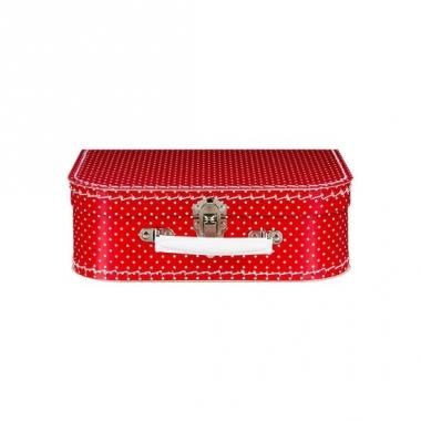 Vintage koffertje rood witte stippen 25 cm