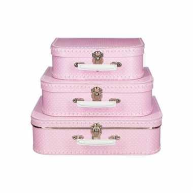Vintage koffertje roze witte stip 35 cm