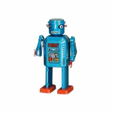 Vintage robot blauw 13 cm