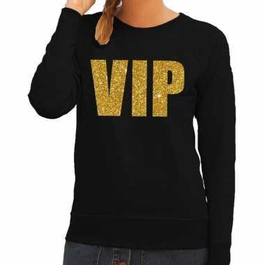 Vip tekst sweater / trui zwart met gouden glitter letters dames