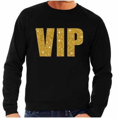Vip tekst sweater / trui zwart met gouden glitter letters heren