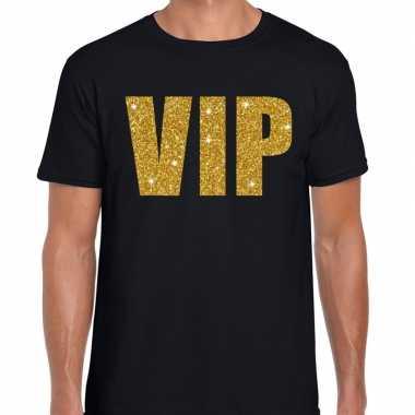 Vip tekst t-shirt zwart met gouden glitter letters heren
