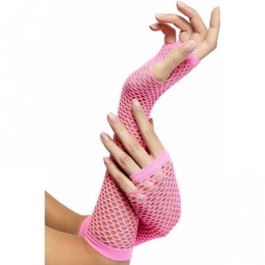 Visnet handschoenen neon roze