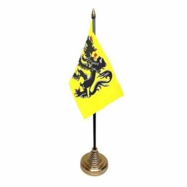 Vlaanderen tafelvlaggetje 10 x 15 cm met standaard