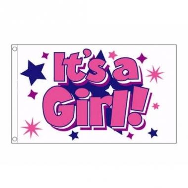 Vlag meisjes geboorte 90 x 150 cm