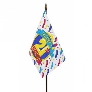 Vlag op stokje happy birthday 21 jaar