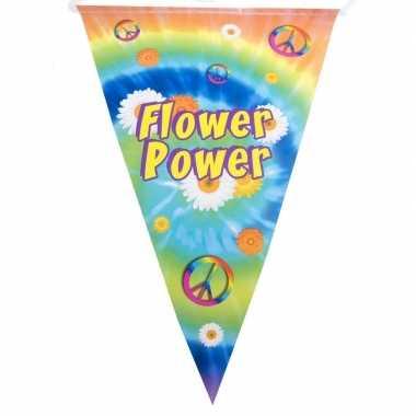 Vlaggenlijn flower power hippie feest decoratie 5 meter