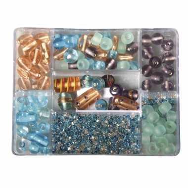 Voorraadbox met turquoise/parel glaskralen