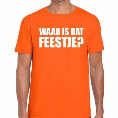 Waar is dat feestje heren t-shirt oranje