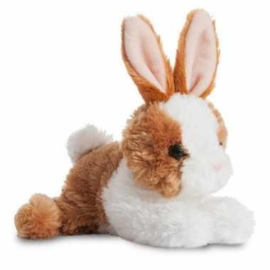 Wit/bruine bosdieren knuffels konijn 20 cm