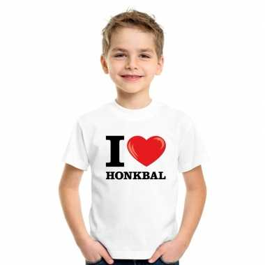 Wit i love honkbal t-shirt kinderen