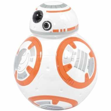 Wit/oranje star wars spaarpot bb-8 robot/droid 12 cm