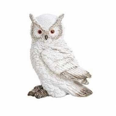 Wit sneeuwuil oehoe vogel decoratie beeldje 13 cm