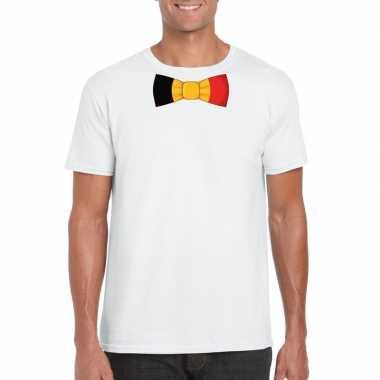 Wit t-shirt met belgie vlag strikje heren