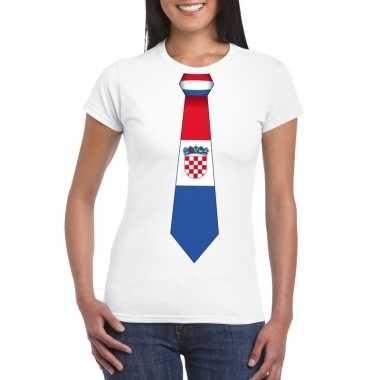 Wit t-shirt met kroatie vlag stropdas dames