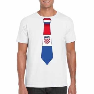 Wit t-shirt met kroatie vlag stropdas heren