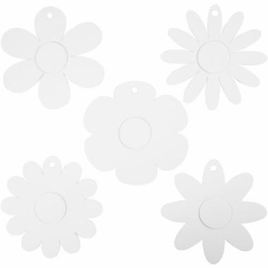 Witte kartonnen bloemetjes 100x