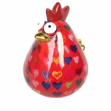 Xl spaarpot kip 26 cm rood
