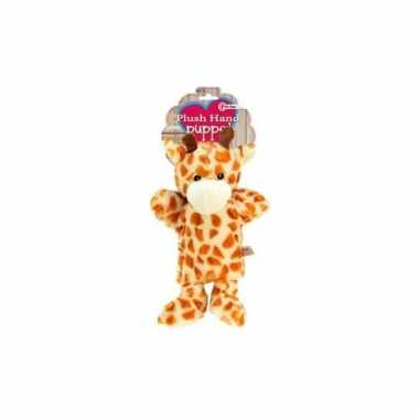 Zacht handpoppetje giraf 21 cm