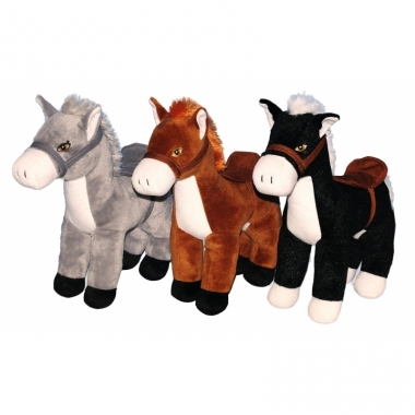 Zacht zwart knuffel paardje 33 cm