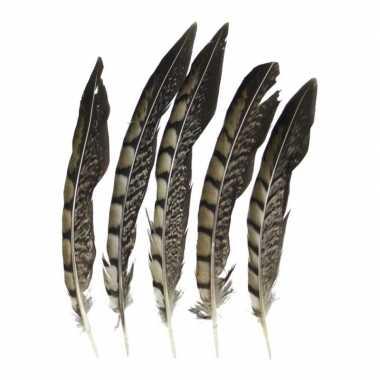 Zakje fazant veren 18 cm 5 stuks