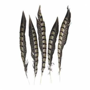 Zakje fazant veren 28 cm 5 stuks
