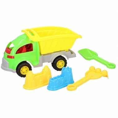 Zandbak speelgoed groene truck/kiepwagen 5-delig 33 cm