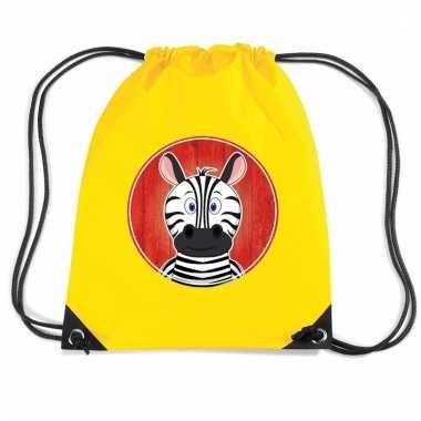 Zebra rugtas / gymtas geel voor kinderen